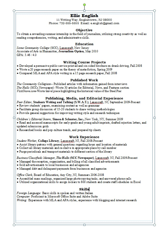 english major resume sample